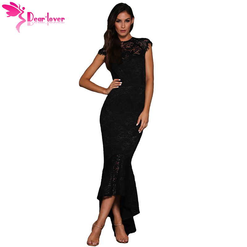 a5857c764f3b9 Dear Lover Formal Women Elegant Party Gowns Black Off-the-shoulder  Patchwork Embroidered Mermaid Dress Vestidos Longo LC610430