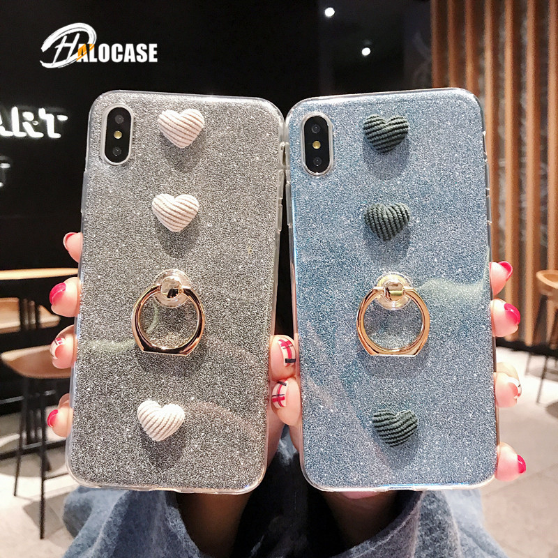 HALOCASE Love With Finger Ring phone case for iphone 6 6s 7 8 Plus cute Silicone TPU for iphone X XS XR XS MAX FUNDA in Fitted Cases from Cellphones Telecommunications