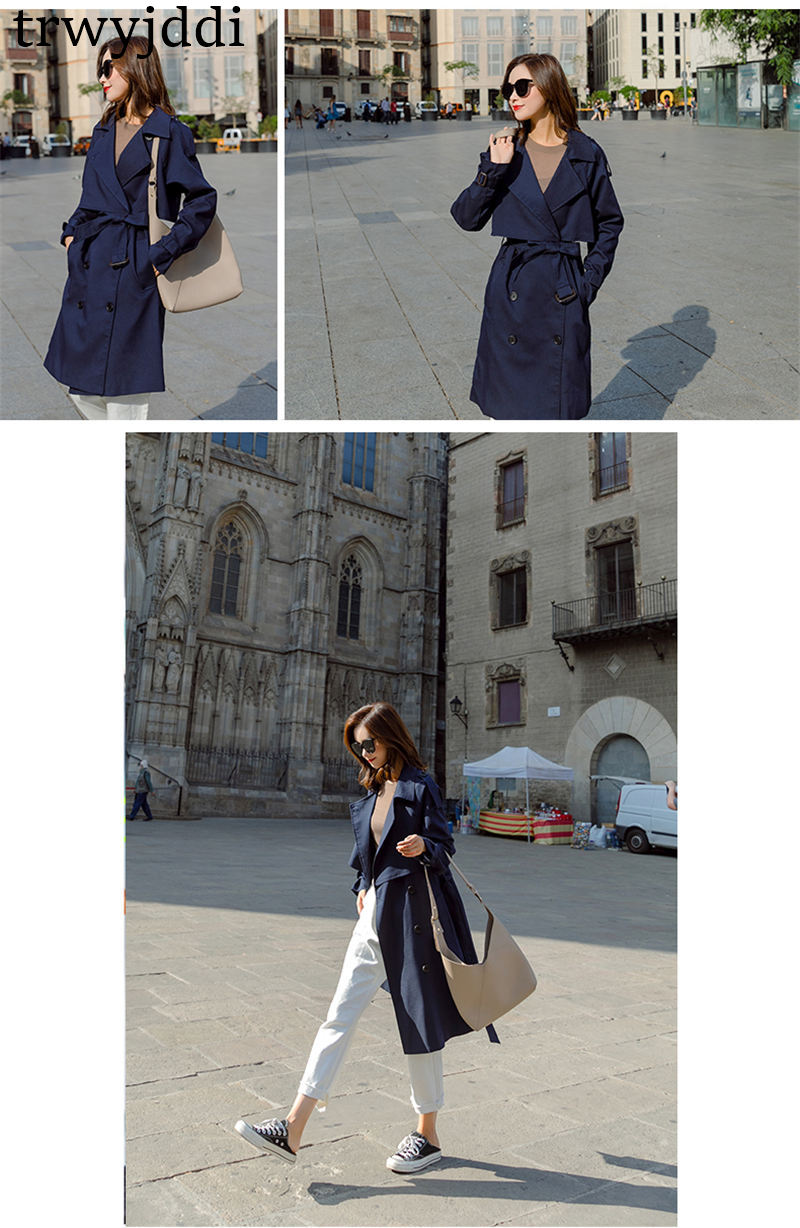 Fashion Windbreaker Coats Long section 19 New Spring Autumn Coat Women Trench Coats Korean Loose Casual Ladies Outerwear N402 12
