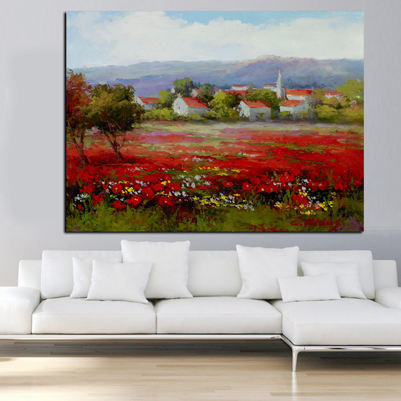 Print Abstract Wild Red Flower Poppies Landscape Oil Painting on Canvas Modern Pastoral Poster Art Wall Picture for Living Room (2)
