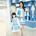 6016 # Impreso Coincidencia de Madre Hija de Ropa Madre e Hija Vestido de Niña Familia Mirada Trajes Camisetas de Manga Larga + Tanque vestido
