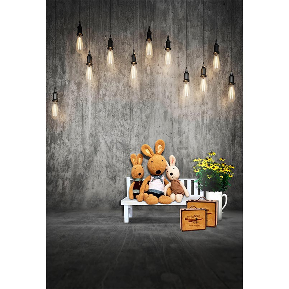 Solid Grey Wall Floor Abstract Photography Backdrops Printed Bulbs White Bench Toy Bear Suitcases Flowers Kids Photo Backgrounds