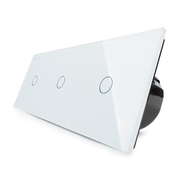Fabricante, 2019 EU estándar, Interruptor táctil Triple de pared de lujo, con Panel de cristal blanco