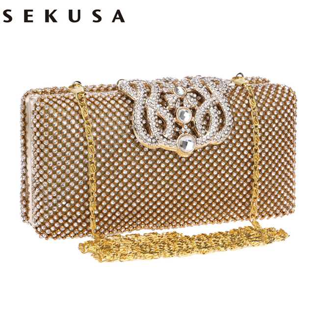 SEKUSA crown diamonds women evening bags rhinestones small day clutches purse handbags with silver/gold/black evening bag