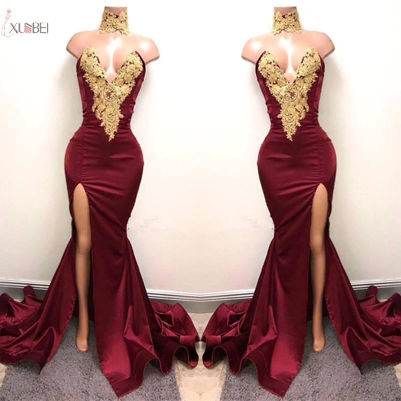2019 Custom Made Burgundy Mermaid Long   Prom     Dresses   V Neck Gold Applique Split   Prom   Gown vestidos de festa gala jurken