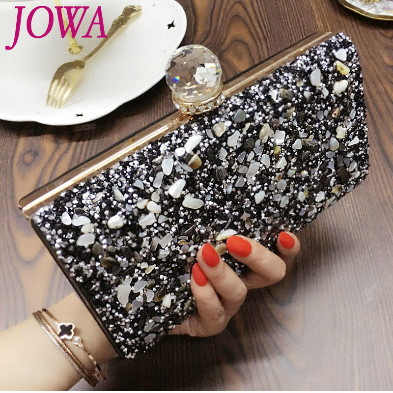 2017 New Evening Bags Ladies Stone Handbag Shiny Diamonds Clutches Vintage Black Night Party Purse Hard Chain Handbags 2 Colors приборная панель пассат б3 купить
