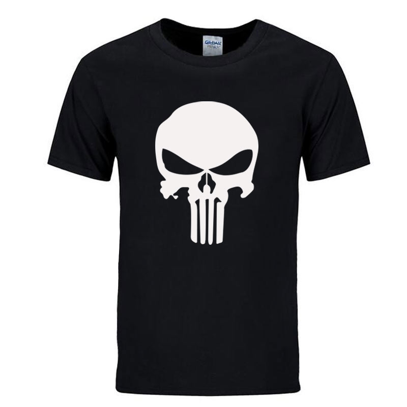 Personalized movie punisher skull printed mens t shirt for Printed t shirts mens fashion