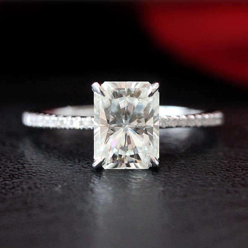 1 8ct Radiant Emerald Cut Moissanite Engagement Ring 14K White Gold Moissanite Bridal Ring Promise Ring