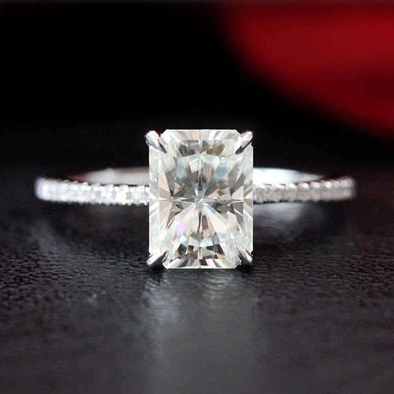1.8ct 放射エメラルドカットモアッサナイト婚約指輪 14 18K ホワイトゴールドモアッサナイトブライダルリング/プロミスリング/結婚記念日リング  グループ上の ジュエリー & アクセサリー からの 指輪 の中 1
