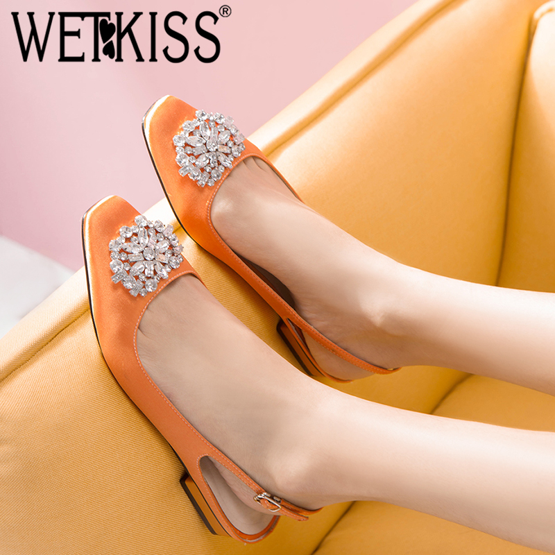 WETKISS Famous Brand Women Pumps Satin Summer Buckle Back Strap Shoes Women Square Heel Crystal Silk Square Toe Footwear Summer