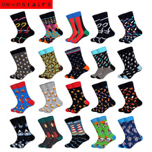 Downstairs Men Socks Individual Character Designs for Mens 21Colors Beer Clown Dinosaurs French Fries Funny Pattern Dress Calcetines