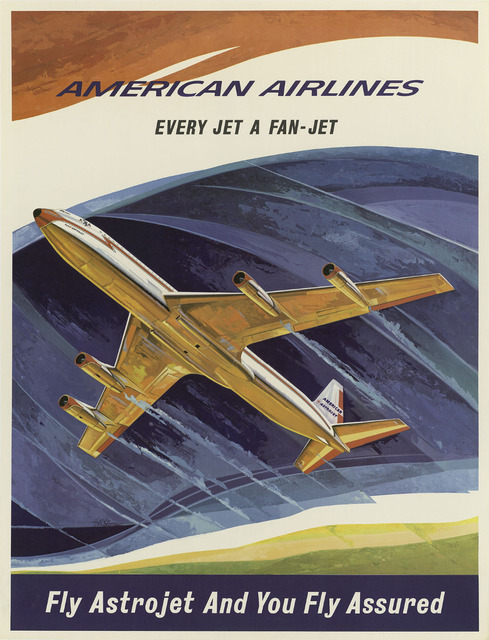 American Airlines Vintage Pop Art Travel Poster Classic Retro Kraft - Vintage aviation maps