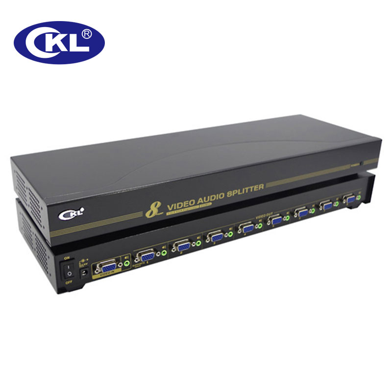 CKL-108S 8 Port VGA Splitter With Audio 1 In 8 Out Video Duplicator Distributor Amplifier Metal Case Supports 450Mhz 2048*1536