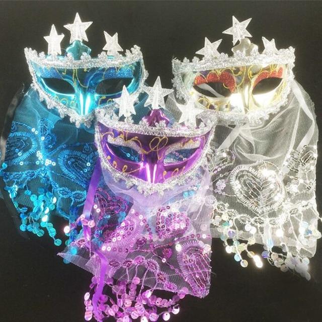 Colorful Flashing Light Up Star Mask Veil Women Venice Princess