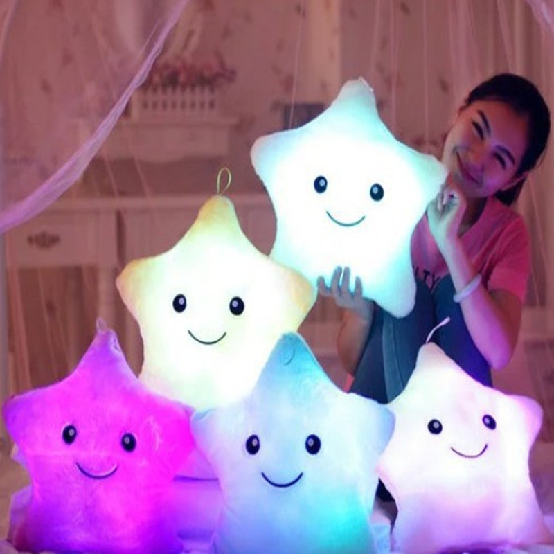 35X35CM Hot Luminous pillow Toys Led Light Pillow plush Colorful Stars kids Festival Christmas Toys Birthday gift
