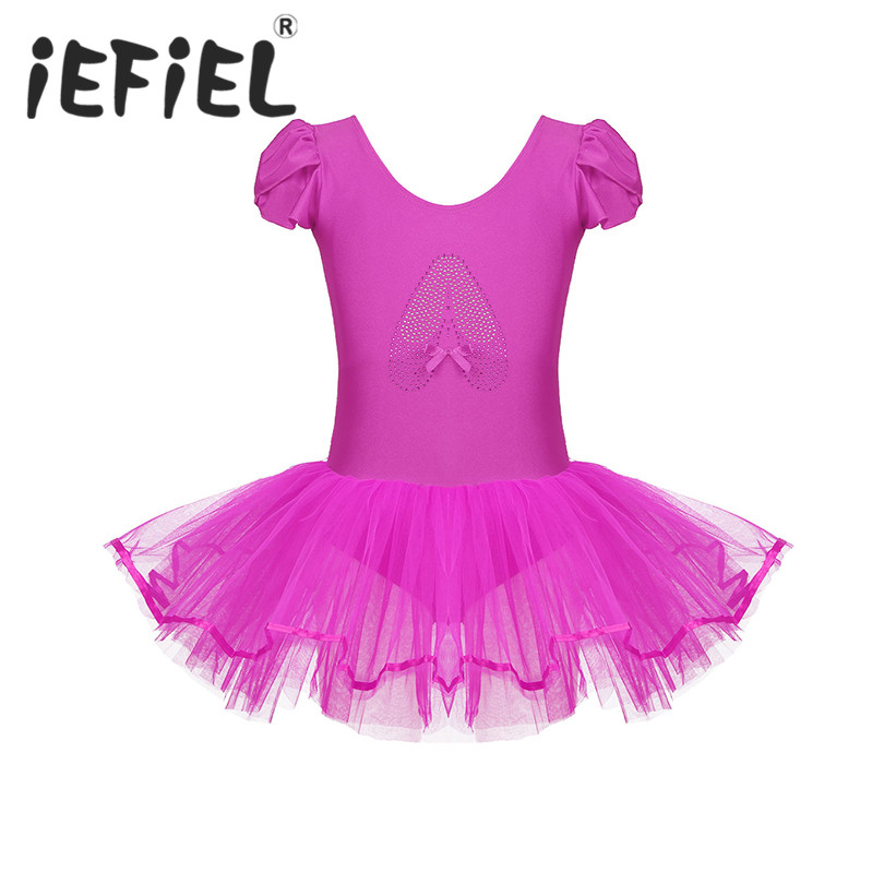 Girls Ballet Dress Dancewear Leotard Kids Children Costumes Dancer Ruffled Cap Sleeves Sequined Ballerina Shoe Performance Dress