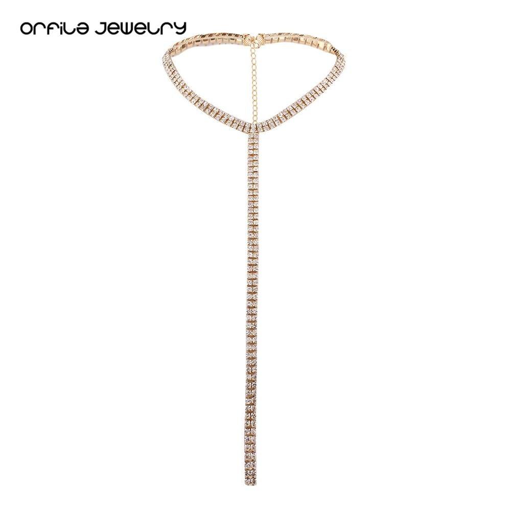 ORFILA  Sexy Chokers Cross Statement Necklace Women Chocker Crystal Rhinestone Shining Jewerly Accessories Gift for Women