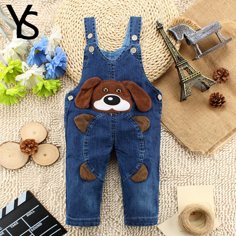 10M-24M Infant Baby Girls/Boys Denim Overalls Jeans Rompers Dog Animal Baby Clothes Toddler Jumpsuit Clothing iyeal baby girl clothing spring 2017 bebe jeans overalls lace rompers infantil jumpsuit for toddler infant denim coveralls