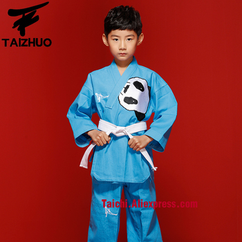 100% cotten Children Taekwondo Uinform For Poomsae & Training,WTF Uniform,110-155cm White Color Panda Embroidery,blue,pink