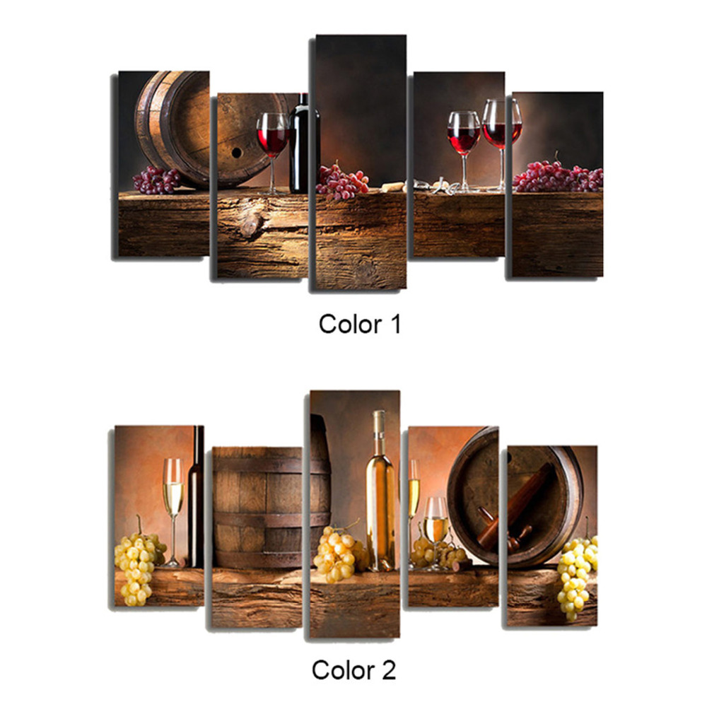 5 PCS Wine Glass Cup Canvas Painting Wall Pictures For Living Room ...
