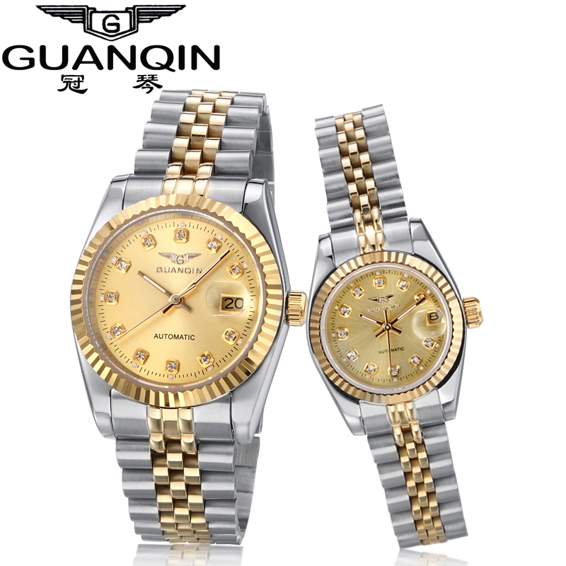 Luxury Couples Watch Pair Brand GUANQIN Watches 2016 Man And Women Watch Pair Mechanical Hardlex Loves Watches Waterproof Clock