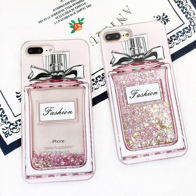 Fashion Luxury Girl Pink Bling Perfume Bottle Phone Case For X iPhone 7/8 plus 6plus Quicksand Dynamic Liquid Glitter Back Cover