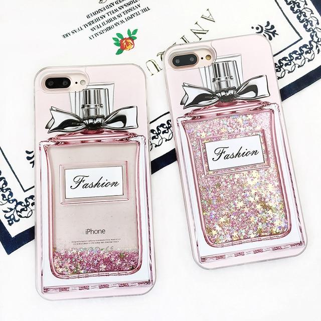 Sports Bottle Phone Case: Fashion Luxury Girl Pink Bling Perfume Bottle Phone Case