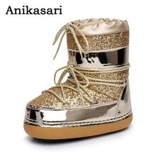 Női tér öltözet Bokavédelem Hócipők Alkalmi munkabiztonsági cipők Sequins Cloth Plüss meleg vízálló sícipő Téli cipő Nő