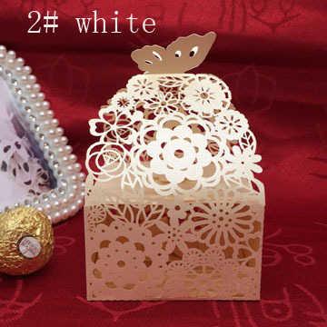 Candy กล่องกระดาษช็อกโกแลตกล่องดอกไม้ผีเสื้อลูกไม้วันเกิดงานแต่งงานตกแต่งหัตถกรรม DIY โปรดปรานฝักบัวอาบน้ำ Wh