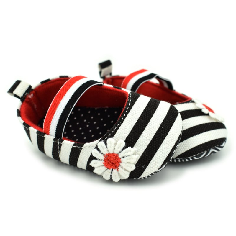 Newborn Baby Girls Flower Cotton Cute First Walker Shoes Soft Soled Striped Crib Shoes 0-18M
