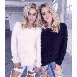 2017 autumn winter women furry short sweater for fat screw neck long sleeve knit tops lady.jpg 250x250