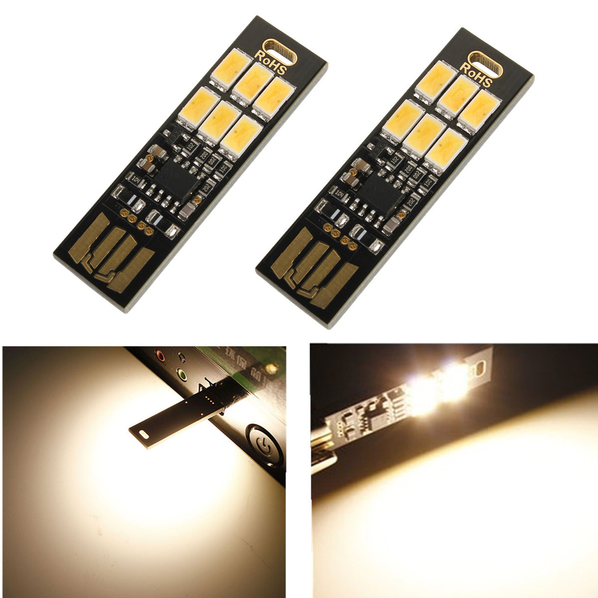 1W 50LM Mini Touch Switch USB Mobile Power Camping LED Light Lamp 6LEDs 5V Night light Emergency lights