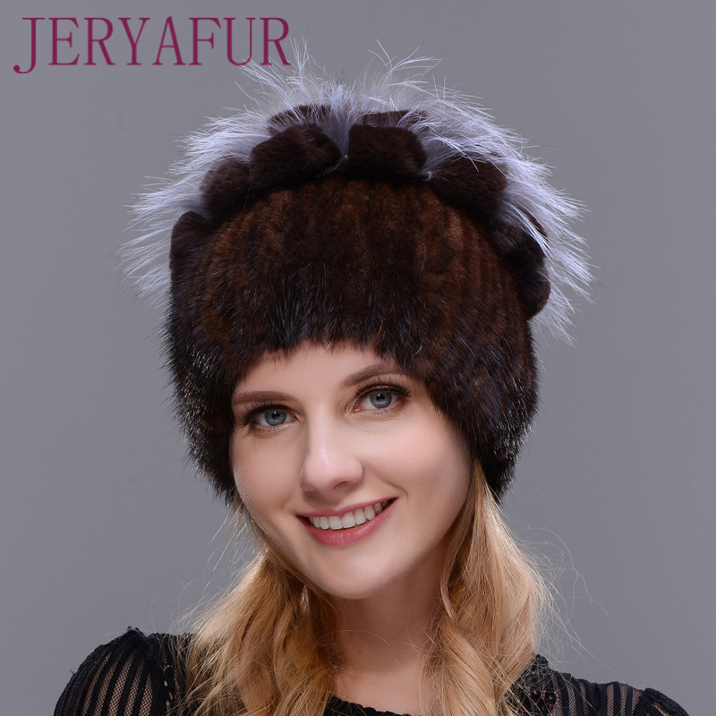 New Fashion Winter Warm Ear Cap Natural Imported Mink Fur Hat For Women Rabbit Fur Petal and flower On The Top Mix With Fox Fur the new children s cubs hat qiu dong with cartoon animals knitting wool cap and pile