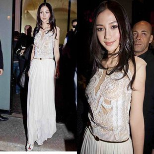 Women Elegant Famous Star Same Style Dress Part Gown Chiffon Long Dresses with Belt 88037