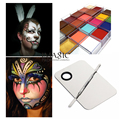 IMAGIC 12Flash Tattoo Color+1set Makeup Mixing Palette Stainless Steel  Spatula Tool Halloween products Face Body Oil Paints Art