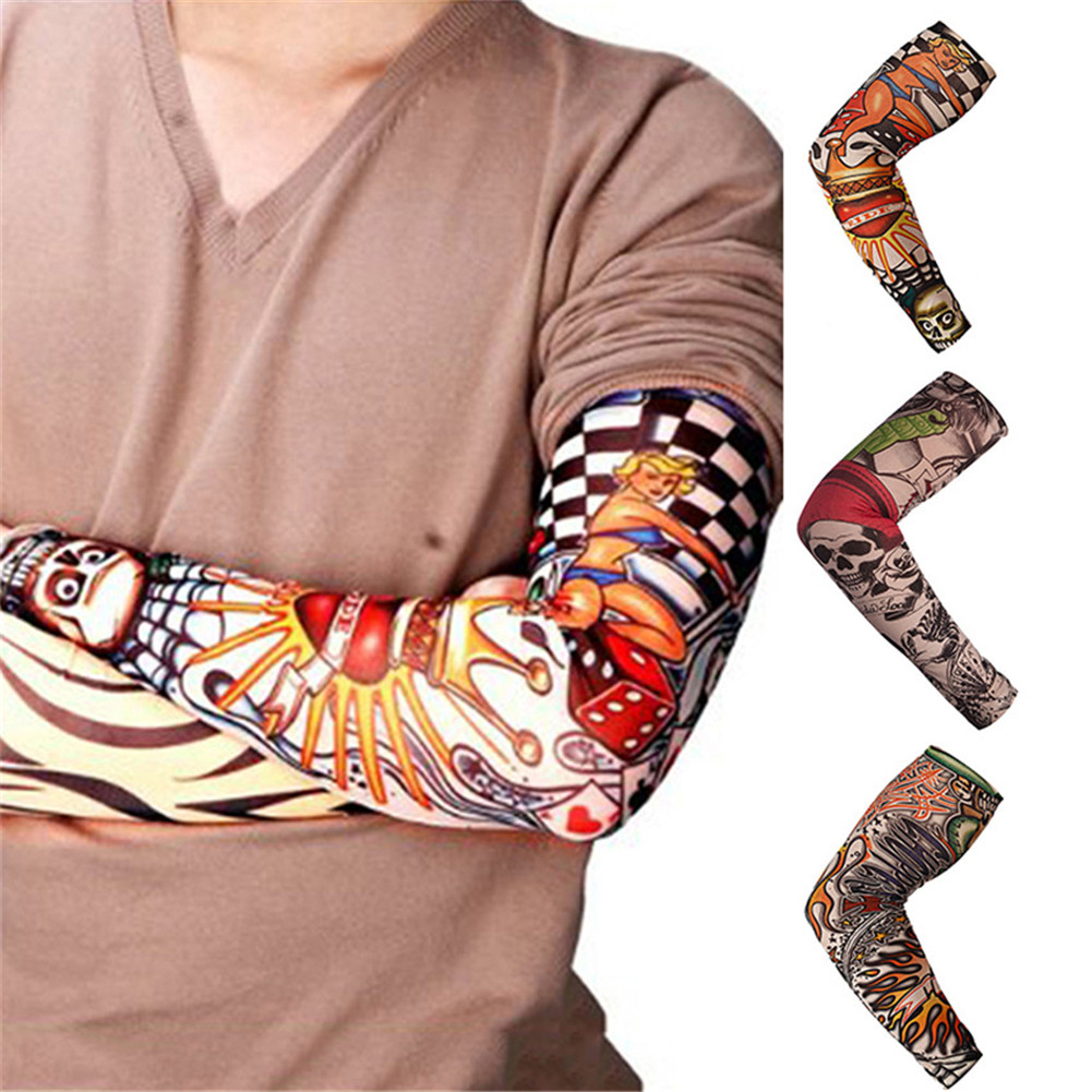 Tattoos Arm Sleeves Cooling Cover UV Sun Protection Basketball Golf Sport Tattoo Sleeve Gauntlet Arm Shaping Camouflage Sleeves
