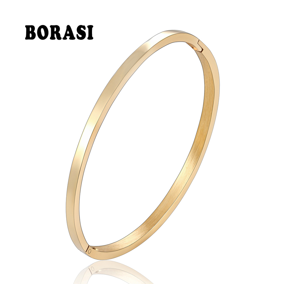 BOBASI New Stainless Steel Round Bangles& Bangles Three Colors Trendy Charm Bracelets Jewelry For Women Love Wedding Brand Gifts
