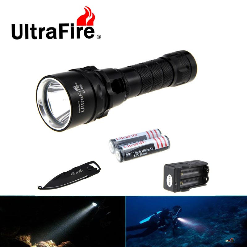 Ultrafire U-88 XM-L2 Cool White Light Diving Flashlight LED Torch w/ Keychain Knife + charger + 18650 Batteries  winsune 2 100w cool white