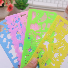 4PCS Cute Art Graphics Symbols Drawing Template Stationery Ruler Kids Drafting Stencil Toys Gifts For Children Kids Student недорого