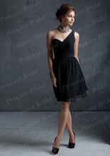 Free Shipping Gorgeous Top Quality Sheath One Shoulder Pleated Knee Length Black Bridesmaid Dresses Short BD060
