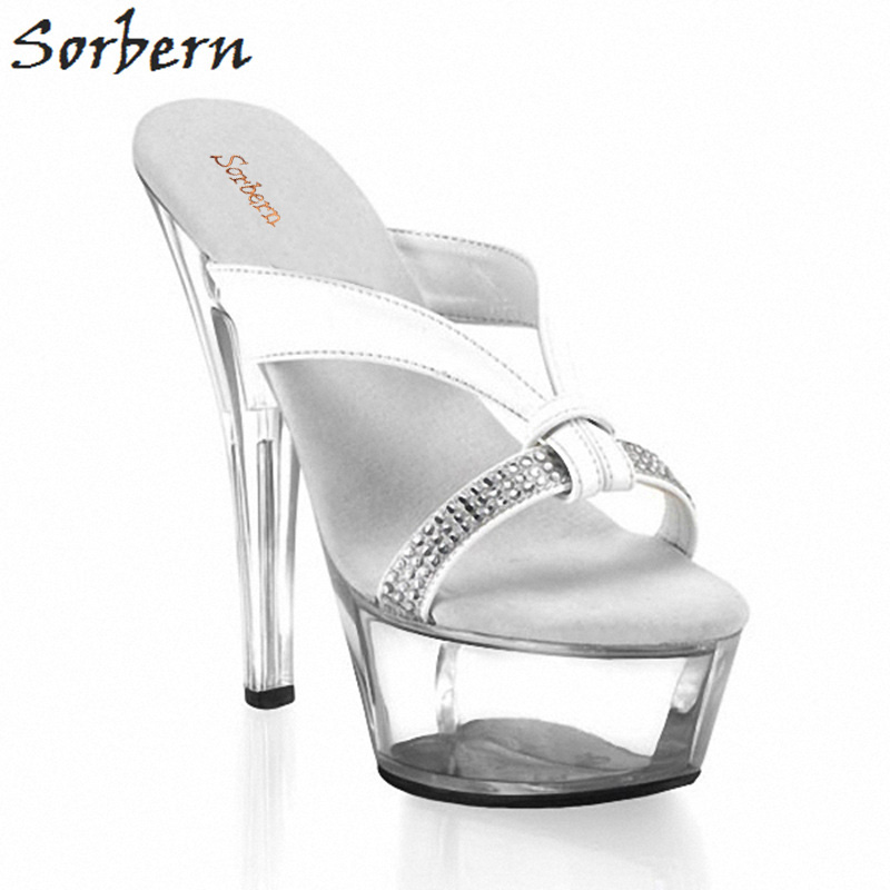 Sorbern Sexy Transparent High Heels Platform Slippers Women Open Toe Female Shoes Slides 15Cm/5Cm Platform Shoes Women Plus Size brown women slippers super high heels with platform slides scarpe donna sandali 2017 fashion summer women shoes plus size