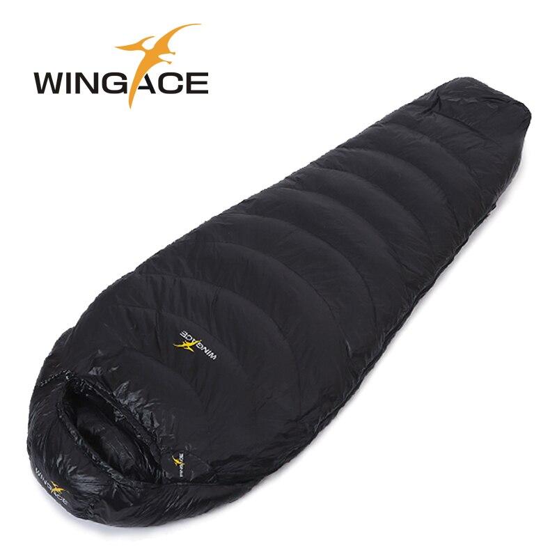 Hiver sac de couchage duvet de canard WINGACE Remplir 1000g 1200g 1500g camping Adulte voyage momie Étanche uyku tulumu sac de couchage