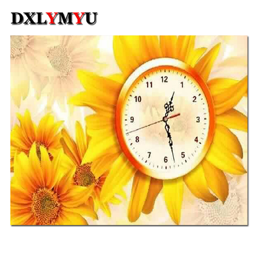 Hot Sale Diy Diamond Painting Home Decoration Sunflower watch Resin ...