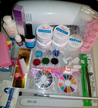 Full 9W UV Gel Lamp Dryer Nail Art Care Acrylic Powder Tips Glitter Polish Set Kit #5