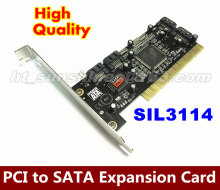 5PCS/LOT PCI to SATA card 4 port SIL3114-4I expansion card ,TB hard disk array/expansion cards