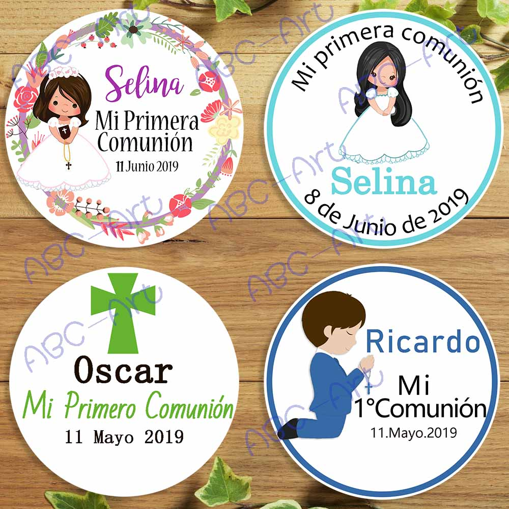 ABC-ART 72/88PCs Spanish My First Communion Custome stickers for Church Girls Boys bible religious Baptism invitation(China)