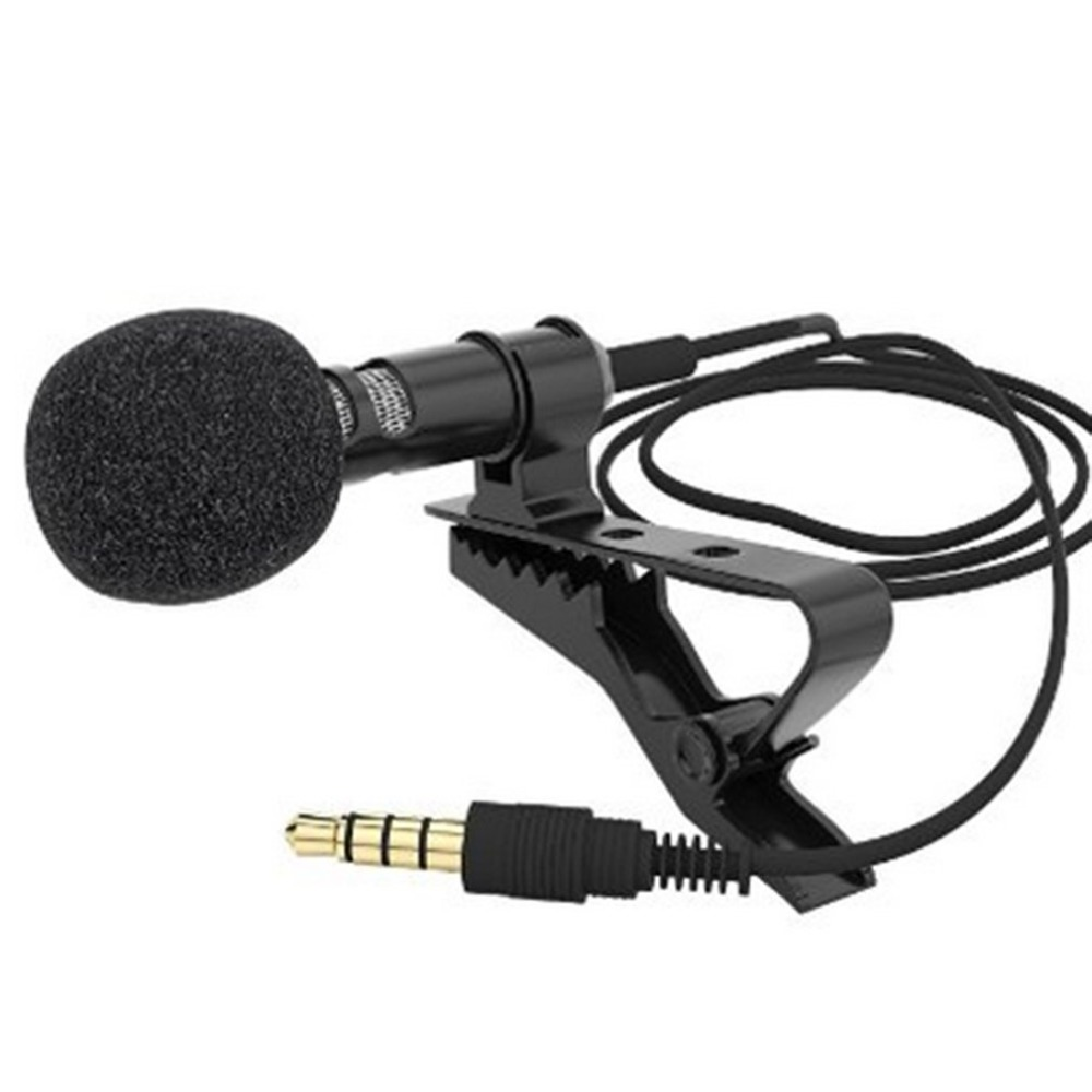 Mini Microphone Condenser Clip-on Lapel Lavalier Mic Wired For Phone Laptop