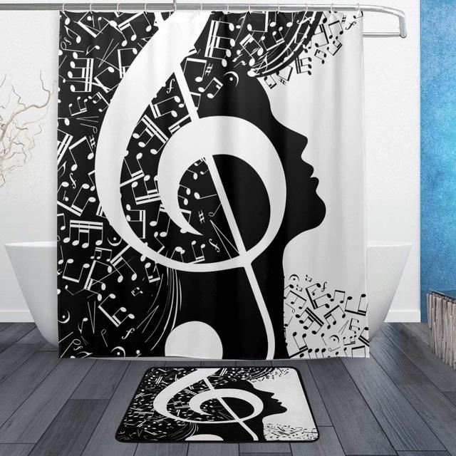 Abstract Music Notes Black White Shower Curtain And Rug Set Waterproof Polyester Bath Mat Bathroom Decor
