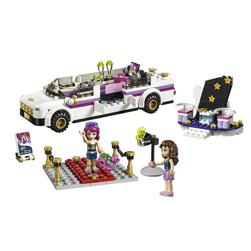 10405 Girls Friends Pop Star's Luxury Car Building Kit Blocks Bricks Toys Children Compatible Legoes Friends Gift Kid Set Girls 10406 girls pop star show stage building blocks set 448pcs assemble toys compatible with blocks for girls gift