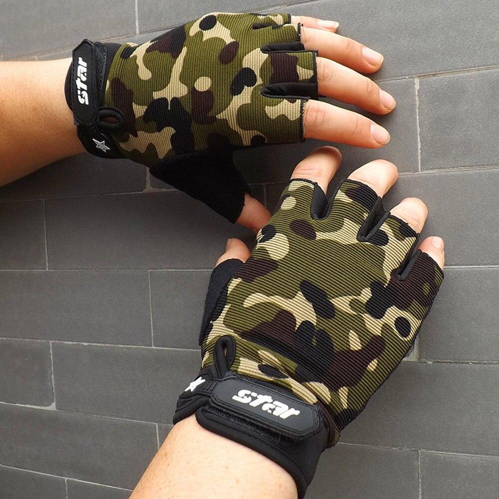 Camouflage Men Women Half Finger Gloves Breathable Sports Gloves Antiskid Cycling Bike Gym Fitness Sports Half Finger Glove(China)